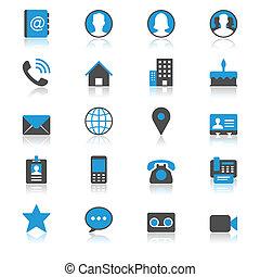 contact, plat, met, reflectie, iconen
