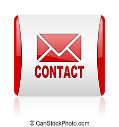 contact red and white square web glossy icon
