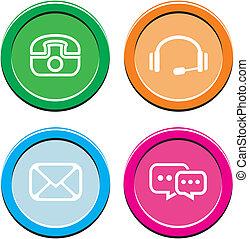 contact, rond, icône, ensembles