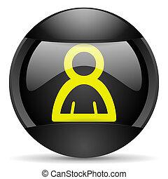 contact round black web icon on white background