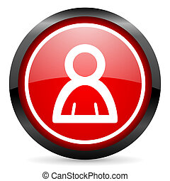 contact round red glossy icon on white background