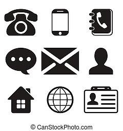 contact, set, iconen