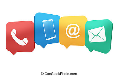 Contact Symbols Creative combined 4 Icons Illustration Design