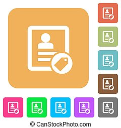Contact tag rounded square flat icons