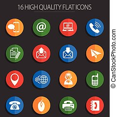contact us 16 flat icons