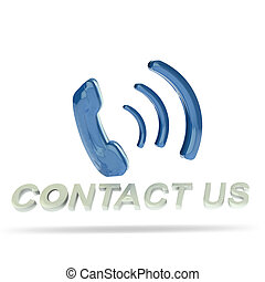 Contact us 3D blue button