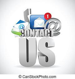 contact us 3d text concept illustration design