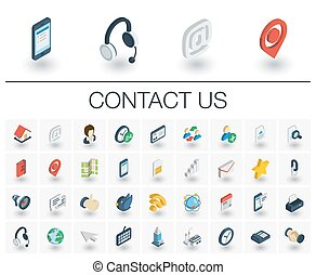 Contact us and Communication isometric icons. 3d vector