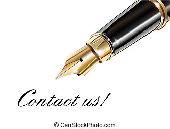 Contact us and fountain pen, vector illustration.