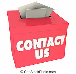 Contact Us Ask Questions Get Help Feedback Box 3d Illustration
