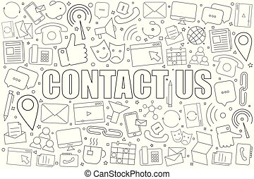 Contact us background from line icon. Linear vector pattern.