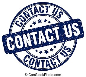 contact us blue grunge round vintage rubber stamp