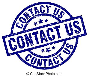 contact us blue round grunge stamp