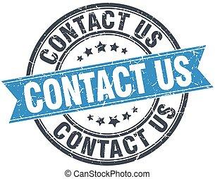 contact us blue round grunge vintage ribbon stamp