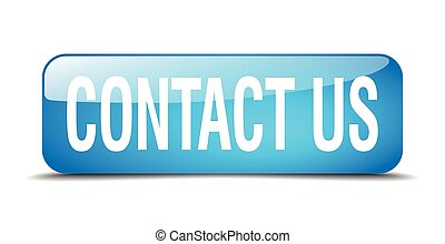 contact us blue square 3d realistic isolated web button