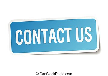 contact us blue square sticker isolated on white