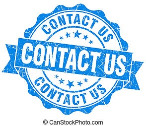 Contact us blue vintage seal isolated on white