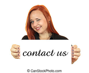 Contact us. Business woman
