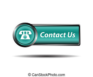 Contact us button blue reflected