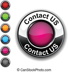 .Contact us realistic button. Vector. .