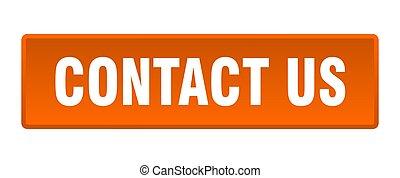 contact us button. contact us square orange push button