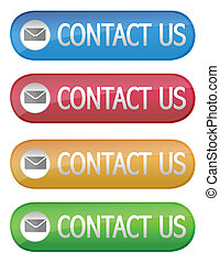 Different color web contact us buttons isolated over a white background. vector file also available.