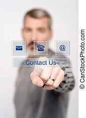 Contact us button on virtual screen