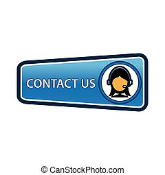Contact us button with women icon for feedback. coordinates and address for customer support and extra information.