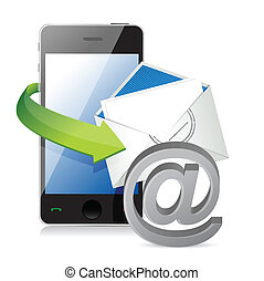contact us, call or mail. illustration design over a white background