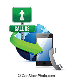 contact us, call or mail. illustration design over a white...