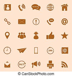 Contact us color icons on orange background
