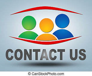 Contact us - communication concept with sign and text