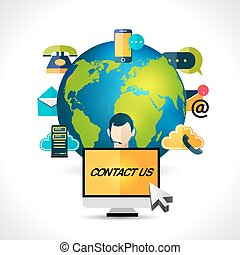 Contact us concept globe poster - Connect us mobile internet...