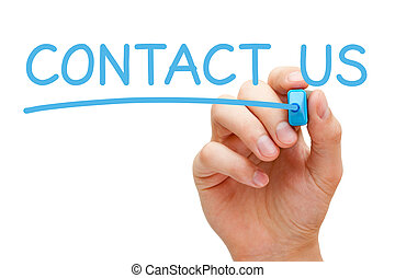 Contact Us Concept - Hand writing Contact Us with blue...