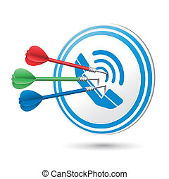 contact us concept target with darts hitting on it over white