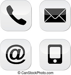 Contact us - Contact buttons set - email, envelope, phone, ...