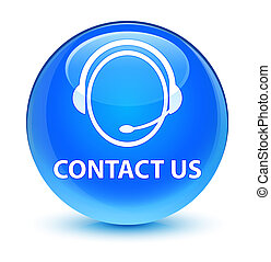 Contact us (customer care icon) glassy cyan blue round button