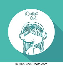 Contact us design over blue background, vector illustration