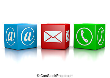 Contact Us Cubes Set on White Background