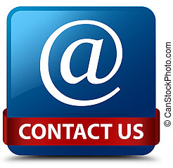 Contact us (email address icon) blue square button red ribbon in middle
