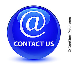 Contact us (email address icon) glassy blue round button