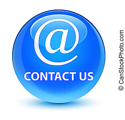 Contact us (email address icon) glassy cyan blue round button
