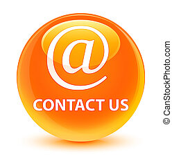 Contact us (email address icon) glassy orange round button