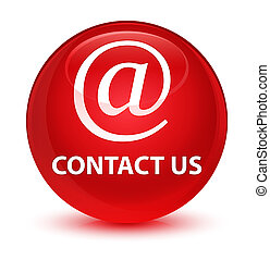 Contact us (email address icon) glassy red round button