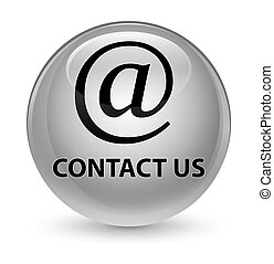 Contact us (email address icon) glassy white round button