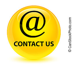 Contact us (email address icon) glassy yellow round button