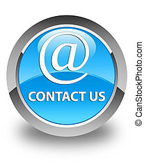 Contact us (email address icon) glossy cyan blue round button