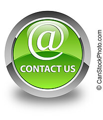 Contact us (email address icon) glossy green round button