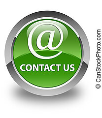 Contact us (email address icon) glossy soft green round button