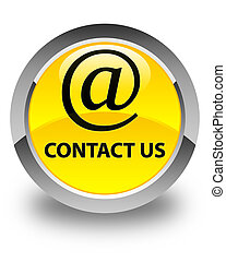 Contact us (email address icon) glossy yellow round button